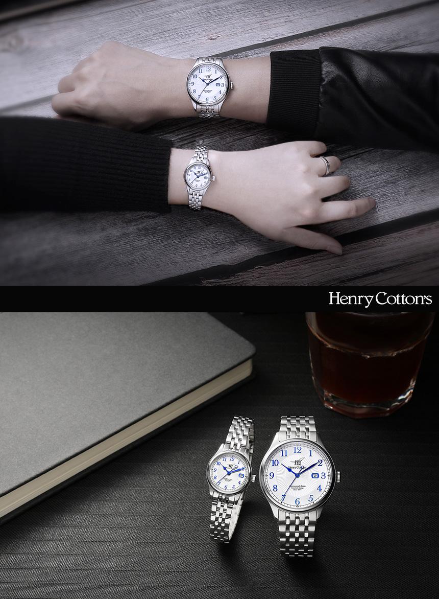 헨리코튼(HENRY COTTON'S) 여자 데이트 가죽시계 HC724LL-WH