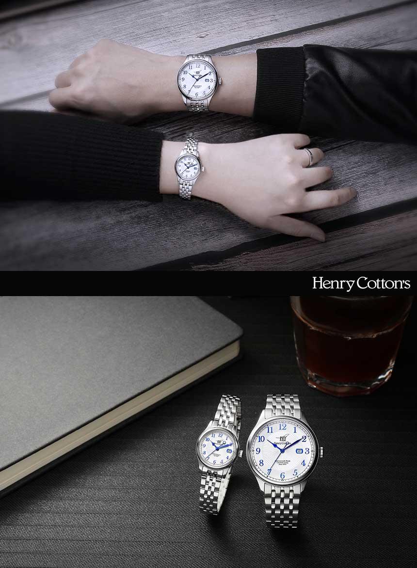 헨리코튼(HENRY COTTON'S) 여자 데이트 메탈시계 HC724LM-BK